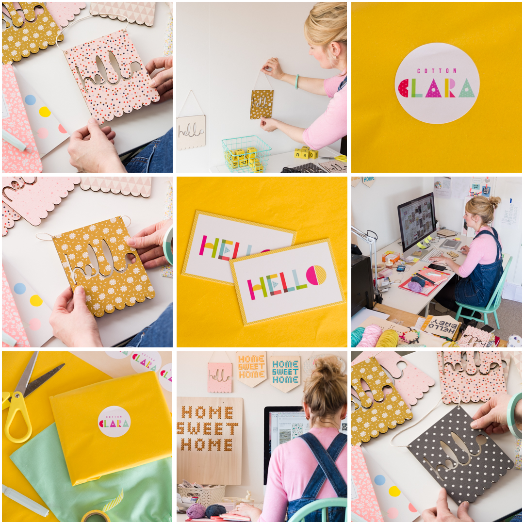 Details of designs and packaging by Chloe Hardisty, Designer and Stylist at Cotton Clara